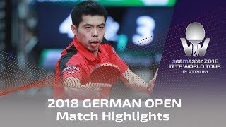 2018 German Open Highlights I Timo Boll vs Chuang Chih-Yuan (R16)
