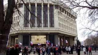 Митинг в поддержку сессии ВР АРК Crimean Parliament 6 марта 2014