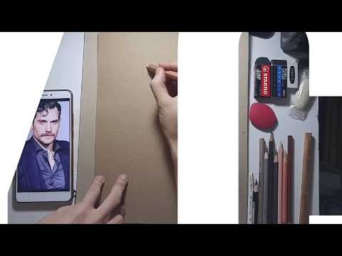 Timelapse drawing of Henry Cavill, colored pencils on Brown Craft Paper