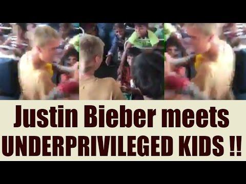 Justin Bieber meets UNDERPRIVILEGED kids in Mumbai; Watch video   FilmiBeat