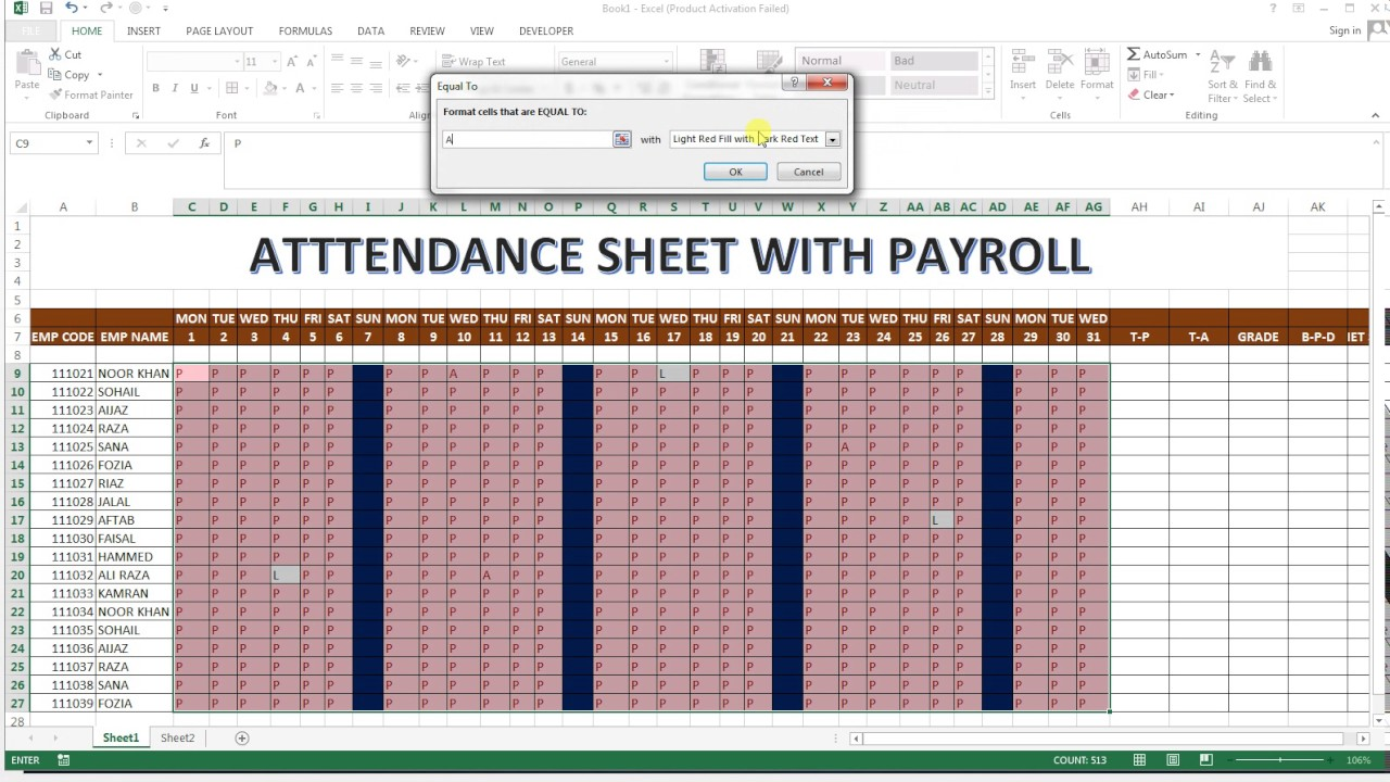 attendance with payroll 24 basic excel sheet youtube