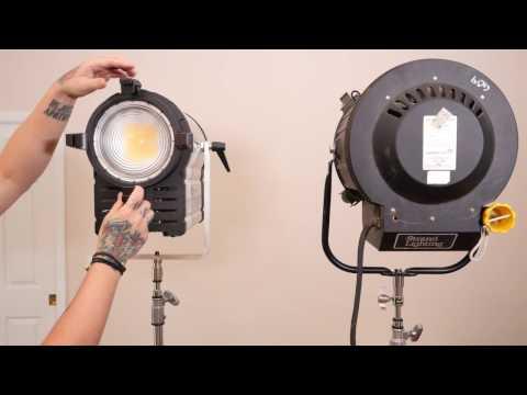 Intellytech Light Cannon 485W LED Fresnel VS. 2K Tungsten Hot Light. Review & Lighting Techniques