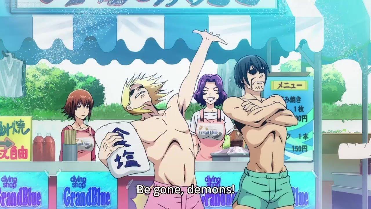 THROW THE SALT! BE GONE, DEMONS! - Grand Blue Anime Bits - YouTube