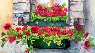 Sunny Geranium Window Box Watercolor Tutorial