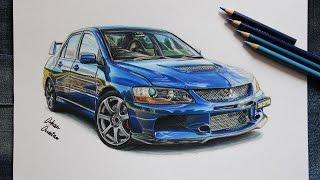 Mitsubishi EVO 9 | Realistic Car Drawing