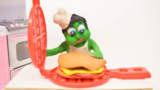 SUPERHERO BABY MAKE A HUGE SANDWICH STOP MOTION PLAY & CLAY ANIMATIONS CARTOONS