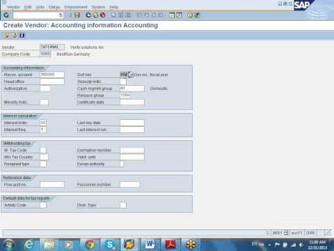 SAP MM Create Vendor Demo
