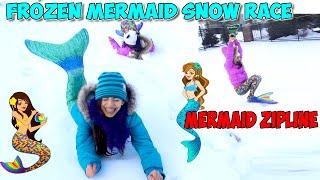 fin fun mermaid frozen snow race   mermaid zipline   extreme winter mermaid challenge