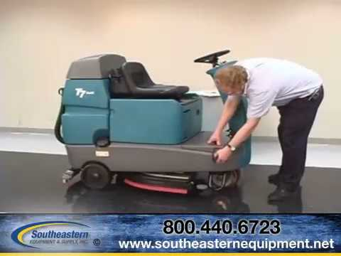 How to operate the Tennant T7 Ride-on Floor Scrubber