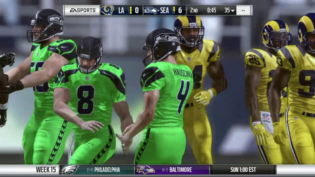 Madden 17 Rams Franchise Week 15 Year 1 The Seahawks Color Rush Uniforms Youtube