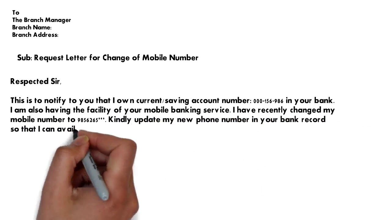 Federal Bank Mobile Number Change Request Letter | Change of phone number  letter sample