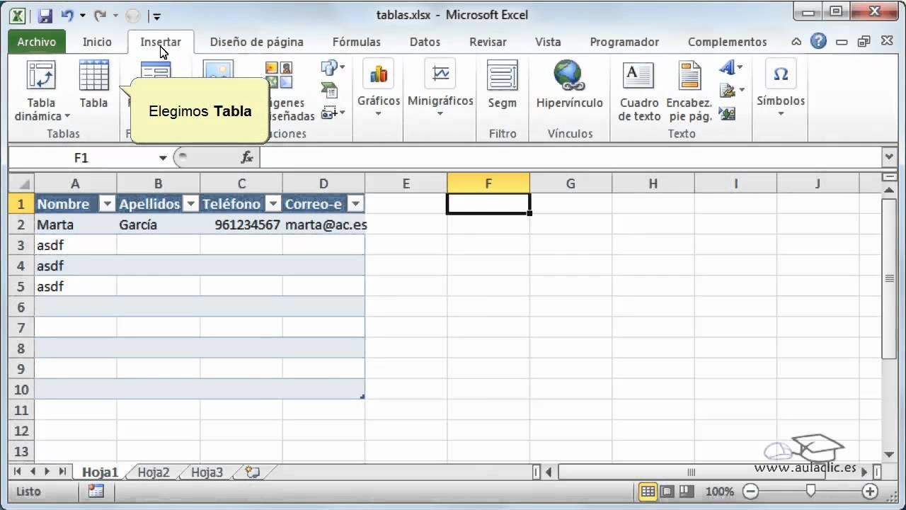 Curso de excel 2010 161 crear tablas youtube curso de excel 2010 161 crear tablas urtaz Choice Image