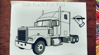 #10 How to Draw Semi Truck   Step by step easily 😊 Tutorial