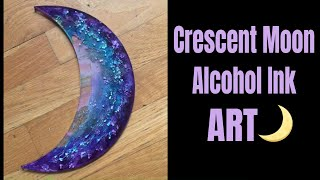 27. Crescent Moon Alcohol Inks in Resin