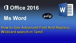Advanced find replace, wildcards on Microsoft Word in Tamil