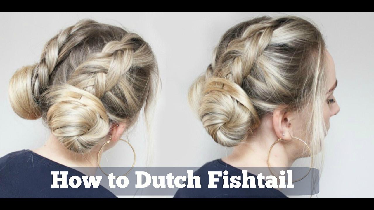 Bun Hairstyle Double Dutch Fishtail Braid Into Buns Hairstyle Youtube