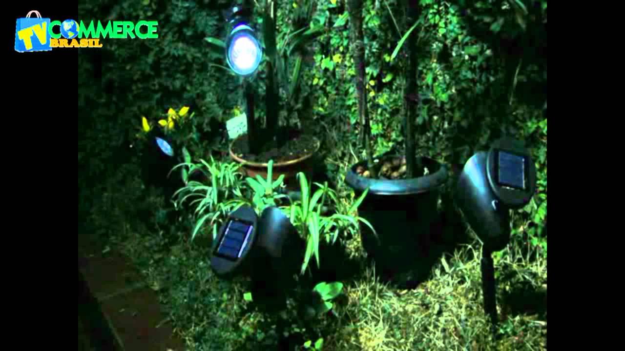 iluminacao led jardins:Luminária Solar Jardim PVC Rígido Spot 1383 3 Leds – YouTube