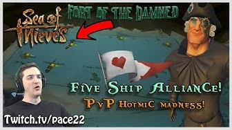 "Pace and Crew vs 5 Ship Alliance ""You'll be banned soon!"" HOTMICS! - Sea of Thieves!"