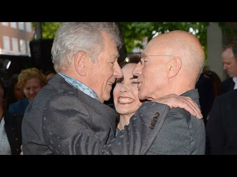 Best Bromance Ever! Patrick Stewart and Ian McKellen Kiss at 'Mr. Holmes' Premiere