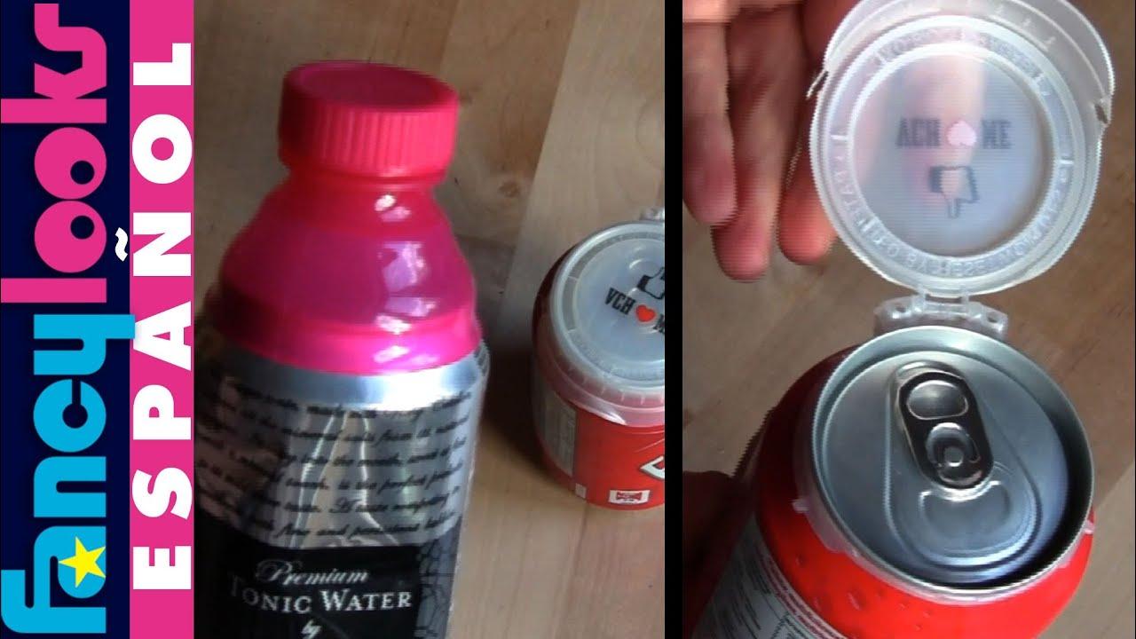 Truco para quitar y reutilizar las tapas para latas youtube - Manualidades con tapones de plastico ...