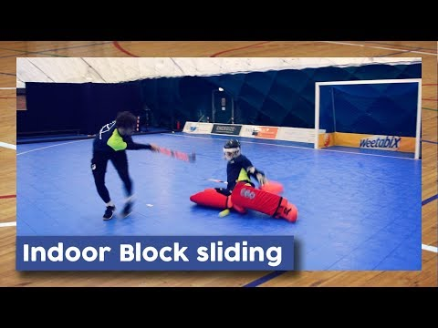 Indoor Goalie Block Sliding | Hockey Heroes TV