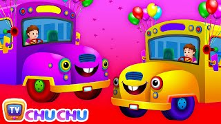 Repeat youtube video Wheels on the Bus Go Round and Round Rhyme - Popular Nursery Rhymes and Songs for Children
