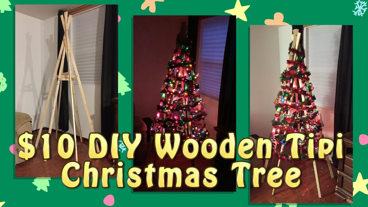 $10 DIY Wooden Tipi Christmas Tree