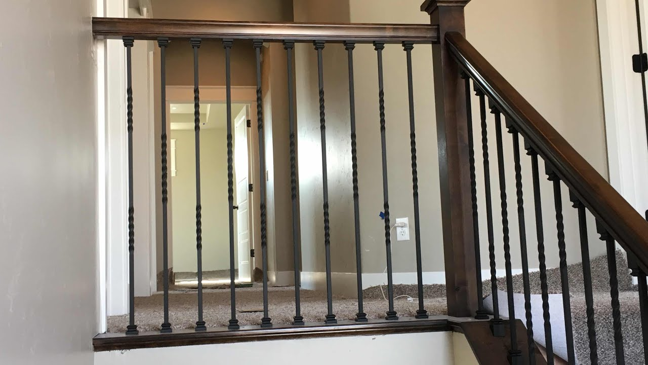 Wood Handrail With Iron Balusters Part 1 Youtube | Iron And Wood Railing | Modern | Brown | Front | Horizontal | Craftsman