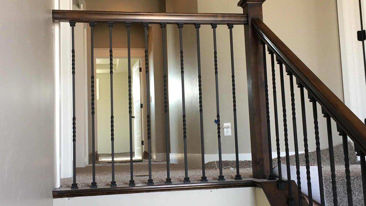 Wood Handrail With Iron Balusters Part 1 Youtube | Iron And Wood Railing | Rod Iron | Interior | Deck | Custom | Horizontal