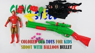 Colored Gun Toys For Kids Shoot With Balloon Bullet Playing - Gun Toys Video For Kids Or Children