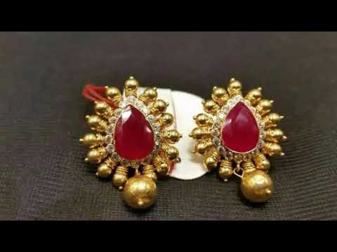 Latest Gold Stud Earrings Designs With Weight | Latest EarTops For Regular Use