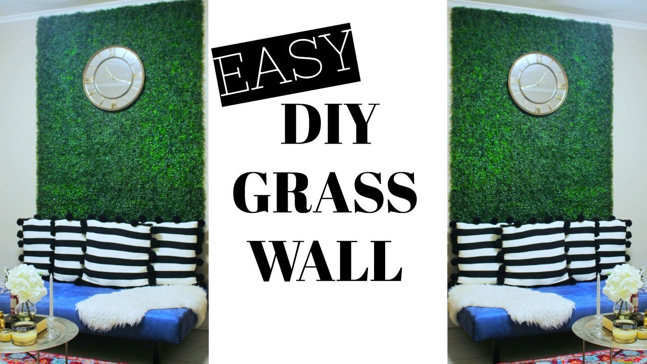 easy diy faux grass wall glam up any room youtube