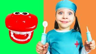 Даша и папа играет в профессию как доктор  Даша показывает как лечить зубы  История про врача