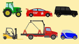 learn street vehicles names for children racing car tow truck tractor