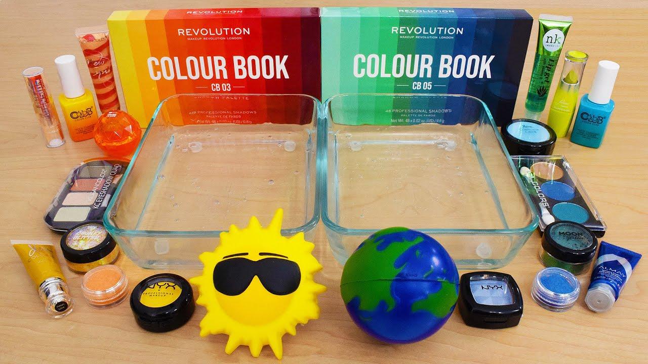 Download Sun vs Earth - Mixing Makeup Eyeshadow Into Slime ASMR 298 Satisfying Slime Video