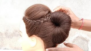 Most beautiful french bun hairstyle from clutcher || New hairstyles || Puff with side layers braid