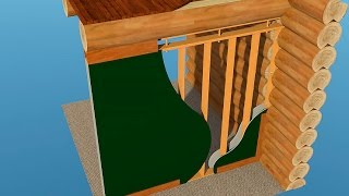 видео Правильная конструкция каркасной перегородки в доме из бревна и бруса