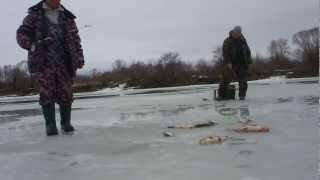 Супер рыбалка.Ловля на течении зимой-,шарик,дергуша..avi