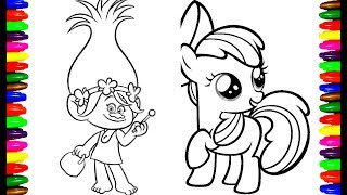 Dreamworks TROLLS and My Little Pony Coloring pages for kids Videos Learning Art Work