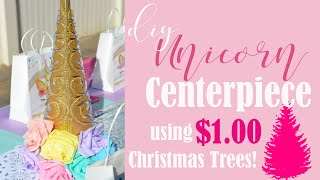 A DIY Unicorn Party Centerpiece made from Dollar Store Christmas Tr...
