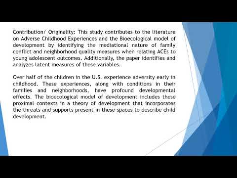 Childhood Adversity, Families, Neighborhoods, and Cognitive Outcomes Testing Structural Models of th