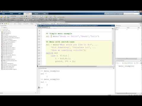 MATLAB Tutorial Lesson #05b:   Menus And Switch Case Statements In MATLAB