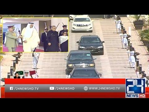 President Arif Alvi Receives Qatari Emir Sheikh Tamim Bin Hamad
