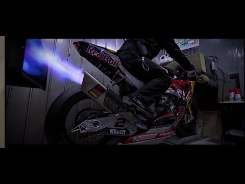 Red Bull Honda World Superbike dyno testing at Akrapovič