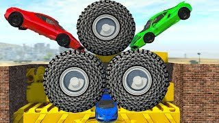 Beamng Drive - Crush Cars with Large Wheels #2