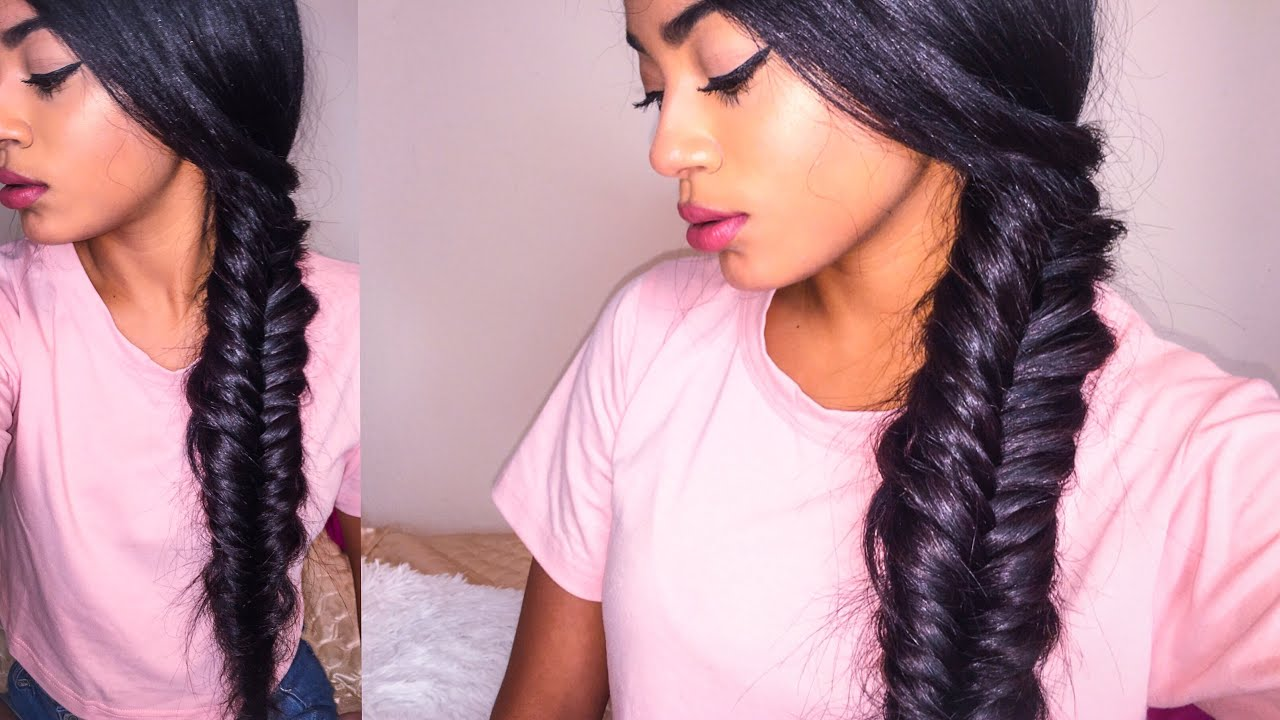 Cute Easy Hairstyle Chunky Side Fishtail Braid GIVEAWAY