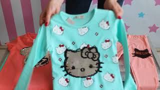 Детские кофты, лосины, футболки с паетками для девочек