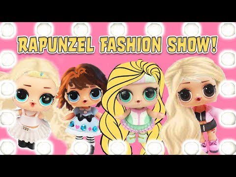LOL Surprise Dolls Rapunzel Fashion Show Contest! With 80's BB, Unicorn, Dollface, and Pink Baby!