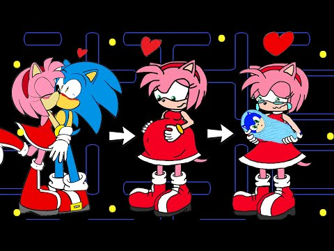 Sonic LOVE Amy (part 2) ! Pregnant Vegetable? | Pacman Stop Motion Game |