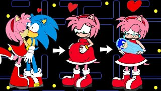 Download Sonic LOVE Amy (part 2) ! Pregnant Vegetable?   Pacman Stop Motion Game